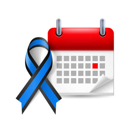 period: Blue and black awareness ribbon and calendar with marked day. Ocular melanoma symbol