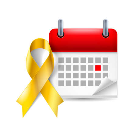 childhood cancer: Gold awareness ribbon and calendar with marked day. Childhood cancer symbol