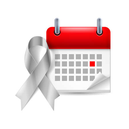 ovarian: Silver awareness ribbon and calendar with marked day. Symbol of Parkinson Disease, ovarian cancer, brain disorders and disabilities