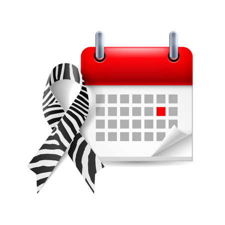 Zebra-print awareness ribbon and calendar with marked day. Rare-disease, Ehlers-Danlos syndrome symbol