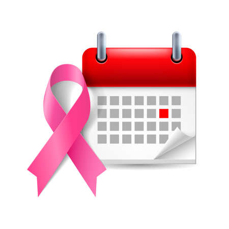 Pink awareness ribbon and calendar with marked day. Breast cancer symbol Vector