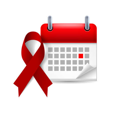 Burgundy awareness ribbon and calendar with marked day. Multiple Myeloma, oral cancer, amyloidosis support, brain aneurysm and adults with disabilities support symbol Vector