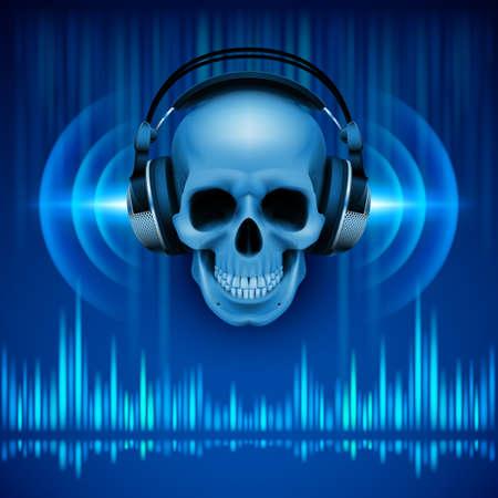 파란색 음영에있는 헤드폰, 이퀄라이저 두개골 디스코 배경 일러스트