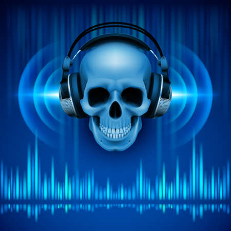 Disco background with skull in headphones, equalizer in blue shades
