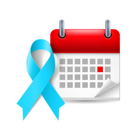period: Light blue awareness ribbon and calendar with marked day. Prostate cancer awareness, Graves Disease symbol