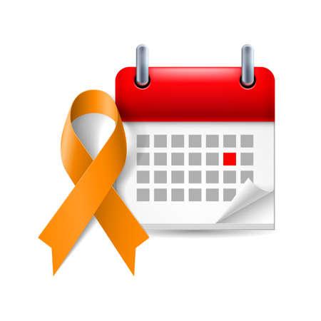 leucemia: Cinta de la conciencia de Orange y calendario con el d�a marcado. Abuso animal, conciencia de la leucemia, s�mbolo Kidney Cancer Association Vectores