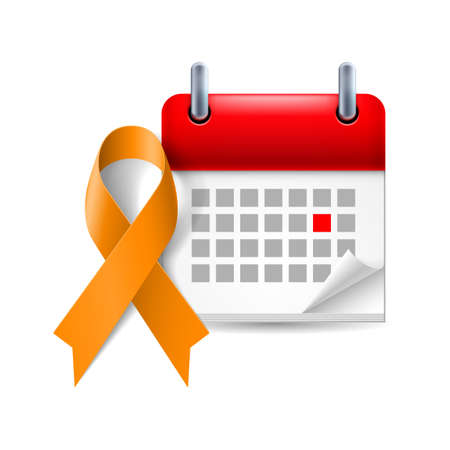 Orange awareness ribbon and calendar with marked day. Animal Abuse, leukemia awareness, kidney cancer association symbol Vector