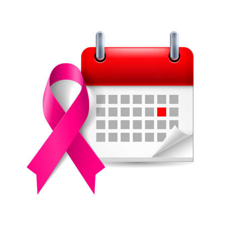 awareness: Purple awareness ribbon and calendar with marked day. General cancer awareness, drug overdose, domestic violence, Alzheimer disease symbol