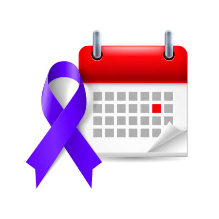 stalking: Indigo awareness ribbon and calendar with marked day. Targeted individuals such as bullying, harassment, stalking symbol Illustration