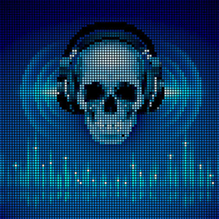 Disco background with skull in headphones, equalizer in blue shades. LED display style Vector