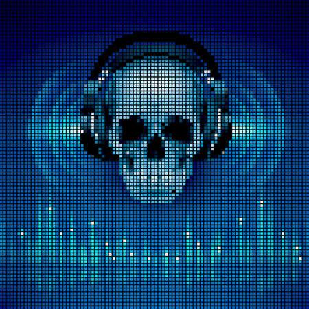 auriculares dj: Disco de fondo con el cráneo en los auriculares, ecualizador en tonos azules. Estilo de la pantalla LED