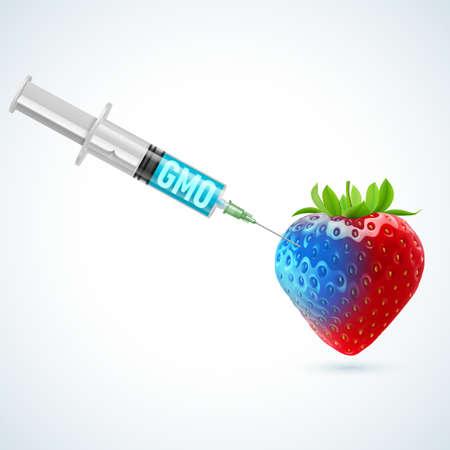 synthetic: Fresh strawberry undergoing GMO rendered as syringe