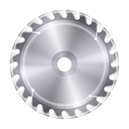 Rotating metal blade of circular saw on white background Иллюстрация