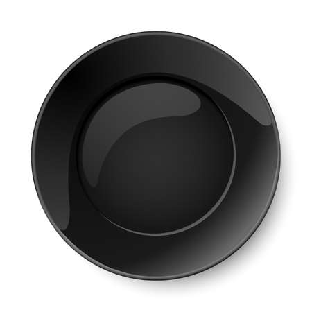 top menu: Illustration of empty round black plate isolated on white background