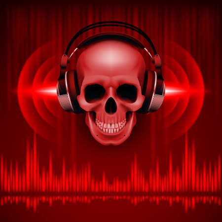 Disco background with skull in headphones, equalizer in red shades Vector