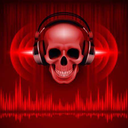 Disco fond avec le crâne dans un casque, égaliseur dans des tons rouges Vecteurs