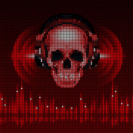 Disco background with skull in headphones, equalizer in red shades. LED style display Vector