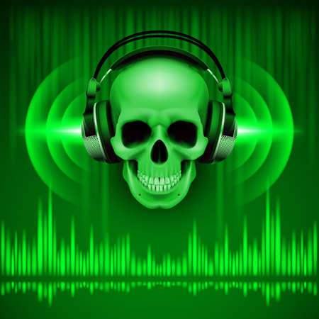Disco background with skull in headphones, equalizer in green shades Vector