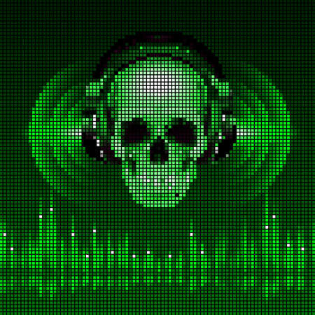 Disco background with skull in headphones, equalizer in green shades. LED style display Vector