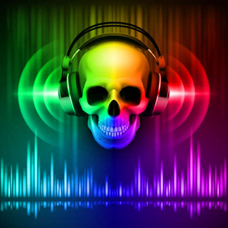 Disco background with skull in headphones, equalizer in spectrum colors
