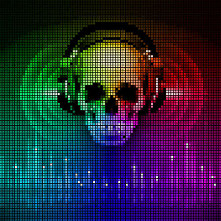 Disco background with skull in headphones, equalizer in spectrum colors. LED style display Vector