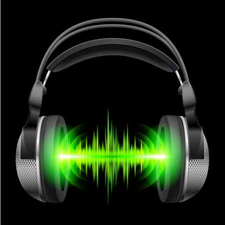 geluidsgolven: Hoofdtelefoon met groene geluidsgolven. Illustratie op zwarte achtergrond