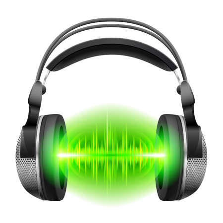 audio wave: Headphones with green sound waves. Illustration on white background