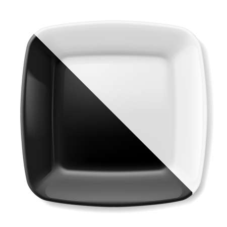 kitchen ware: Empty black and white square plate with rounded corners