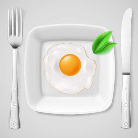 Geserveerd ontbijt. Gebakken ei op een witte plaat geserveerd met vork en mes
