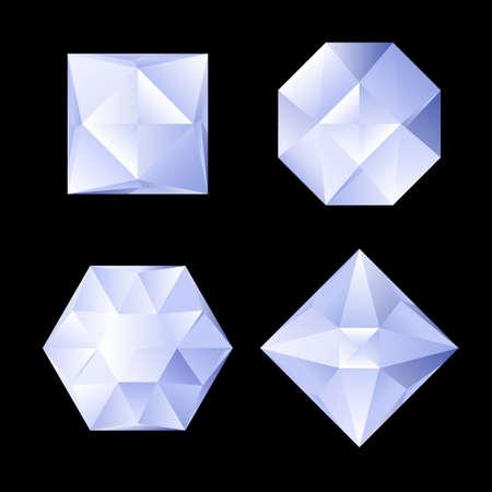 Set of four shiny rhinestones of differebt shapes. Illustration on black background