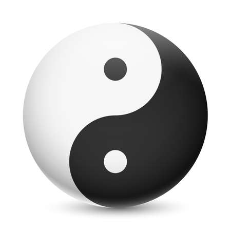 contradiction: Yin and Yang symbol on white background. Harmony and balance of opposites Illustration