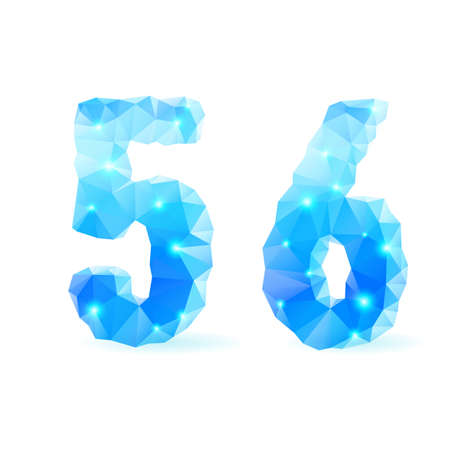 Shiny blue polygonal font. Crystal style numerals five and six Vector