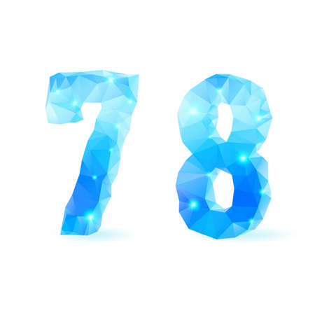 number eight: Shiny blue polygonal font. Crystal style numerals seven and eight Illustration