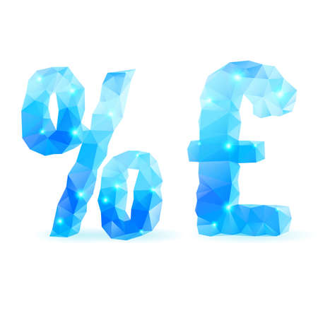 Shiny blue polygonal font. Crystal style per cent and pound sterling signs Vector