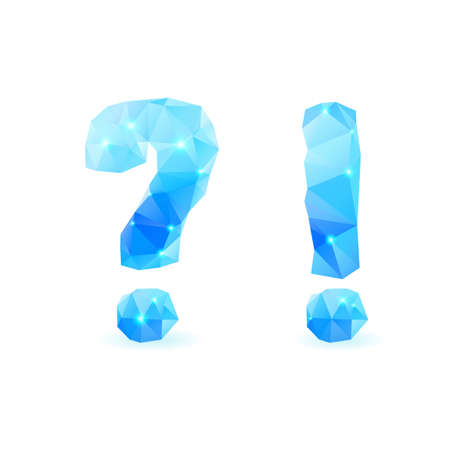 Shiny blue polygonal font. Crystal style question and exclamation marks Illustration