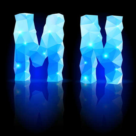 Shiny blue polygonal font. Crystal style M and N letters with reflection on black backround Vector