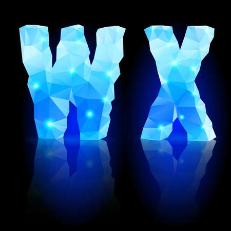 Shiny blue polygonal font. Crystal style W and X letters with reflection on black backround Vector