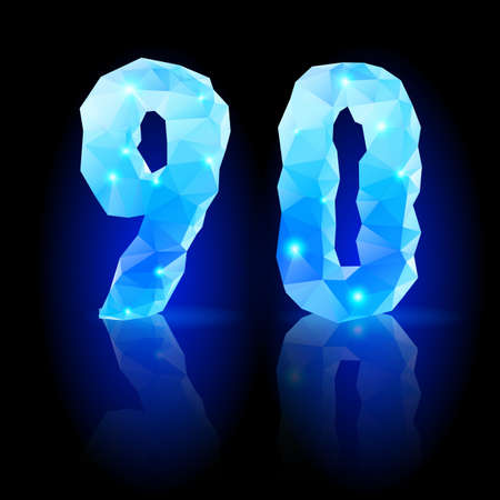 Shiny blue polygonal font. Crystal style nine and zero numerals with reflection on black backround Vector