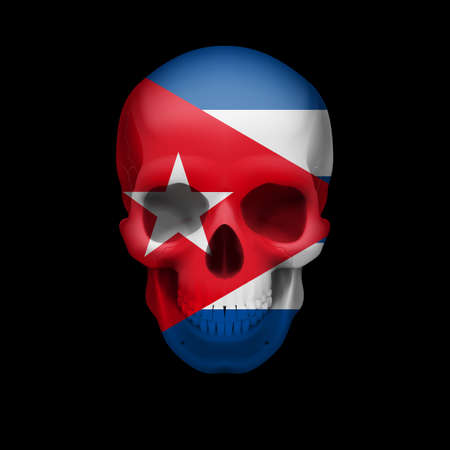 mortal danger: Human skull with flag of Cuba. Threat to national security, war or dying out