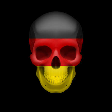 germany flag: Human skull with flag of Germany. Threat to national security, war or dying out Illustration