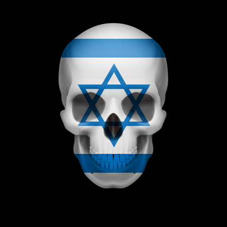 israel war: Human skull with flag of Israel. Threat to national security, war or dying out