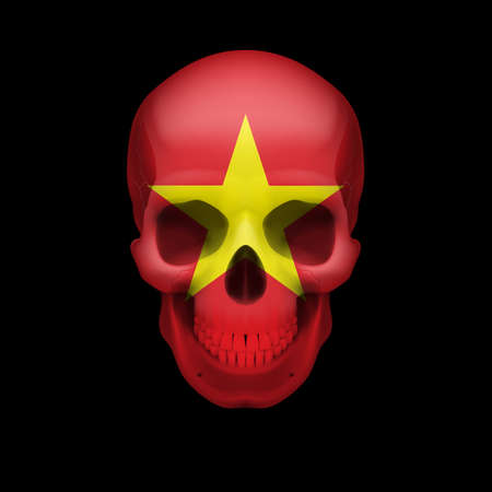 vietnam war: Human skull with flag of Vietnam. Threat to national security, war or dying out Illustration