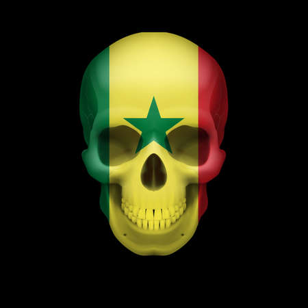 Human skull with flag of Senegal. Threat to national security, war or dying out