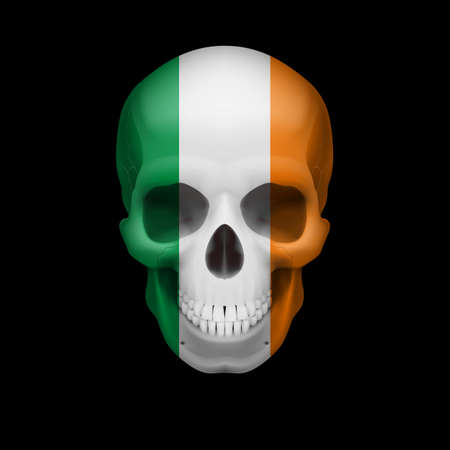 threat: Human skull with flag of Ireland. Threat to national security, war or dying out