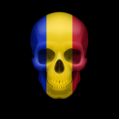 threat: Human skull with flag of Romania. Threat to national security, war or dying out
