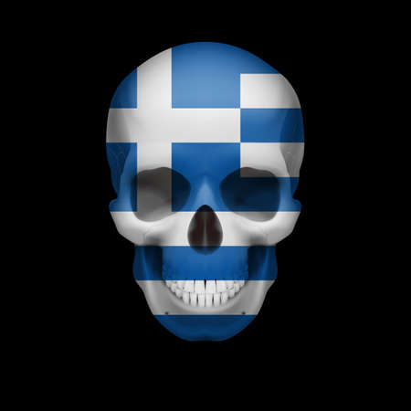 dying: Human skull with flag of Greece. Threat to national security, war or dying out