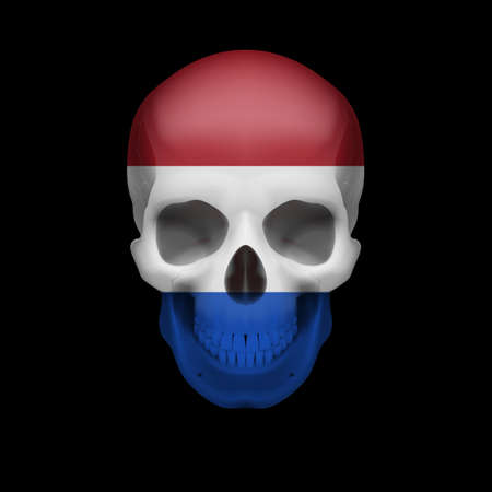 dutch flag: Human skull with flag of Netherlands. Threat to national security, war or dying out Illustration
