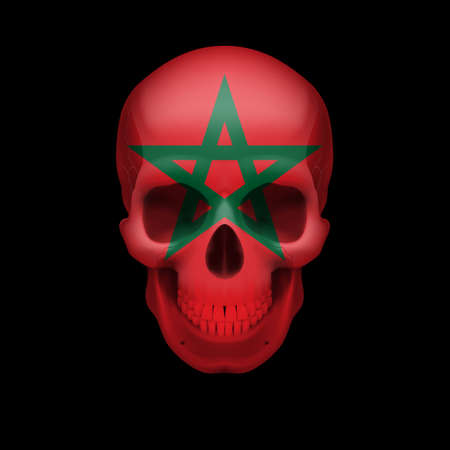 Human skull with flag of Morocco. Threat to national security, war or dying out Vector