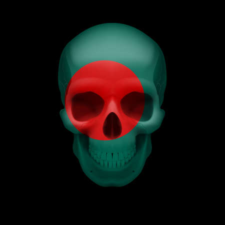 Human skull with flag of Bangladesh. Threat to national security, war or dying out