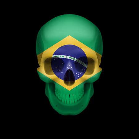 Crâne humain avec le drapeau du Brésil. Menace pour la sécurité nationale, la guerre ou en voie de disparition Banque d'images - 28602246